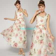 New Summer Women Floral Embroidery Bohemian Ball Evening Party Long Maxi Dresses