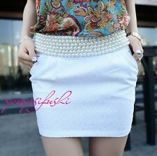 Women Office OL Elegant Beaded Package Hip Floral Printing Mini Short Skirt