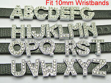 10 SIlver Tone Rhinestone Letter Slide Charm Fit 10mm Wristband Pick Your Letter