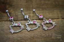 Hello Kitty Cat w/Bow Navel Naval Belly Button Rhinestone Ring Dangle Bling