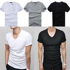 New Mens Round Neck V-Neck Short Sleeve Casual Slim Fit Ribbed Tee T-Shirt Top