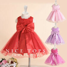 R196 Reds Christening Wedding Flower Girls Party Dresses SIZE 1 2 4 6 8 9 10 12T