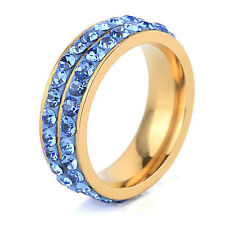 Diamond Shine Blue & Gold Full of Rhinestones Ring all sizes M, O, Q FR125