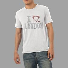 Men's I Heart London Rhinestone Diamante Gem Crystal T Shirt