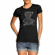 Women's Snake Cobra Rhinestone Diamante T Shirt  Ladies Adults Sizes S- XL