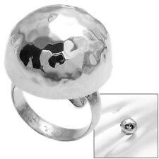 925 Sterling Silver Hammered Solid Dome Ring Size 6-8
