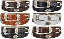 Bellerive Mens Italian Calfskin Leather Golf Concho Dress Belt Black Brown Tan