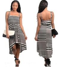 Black White Striped Hi Lo Summer Sundress Tie Waist Belt Dress :  Size S M L