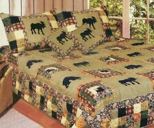 MOOSE MEDLEY Full/Queen of King QUILT SET : MOUNTAIN CABIN BEAR LODGE COMFORTER