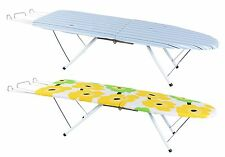 PORTABLE HEAVY DUTY TABLE TOP FOLDING FOLD AWAY IRON BOARD WITH IRON REST STAND