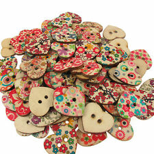 25 Floral Pattern Heart Shaped Natural Wooden Button Beads For Crafting 25x20mm