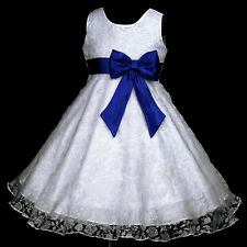 UsaG Light,Deep Blue White w272 Bridesmaid Wedding Party Flower Girl Dress 2-12y