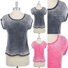 Garment Burnout Round Neck Short Sleeve Casual T Shirt Top Cotton Poly S M L