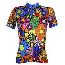 Women's Warm Flower Color Athletic Apparel Short Sleeve Cycling Clothing Jersey