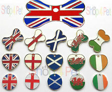 Pets ID Tag Pet Tags Country Flag Designs Various Shapes, with ENGRAVING OPTIONS