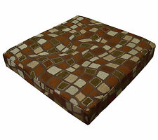 wf02t Brown Gold Brown Olive Wave Checker Stone Cotton 3D Box Seat Cushion Cover