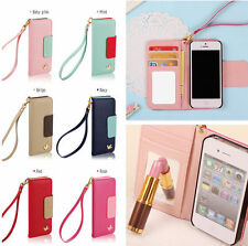 Hot Wallet Card Holder PU Leather Flip Case Cover For iPhone/Samsung + Strap
