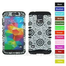 For Samsung Galaxy S5 Flowers Design Hybrid Rugged Impact Armor Phone Case Cover
