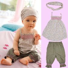 Summer 3pcs Baby Infant Girl Kid Headband+Top+Pants Floral Outfit Sets Clothes