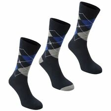 Dunlop Mens Argyle Sock 3 Pack Sport Golf Socks Ribbed Trim Pattern