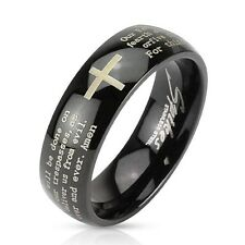 1 Pc Stainless Steel Black IP W/ Cross and Lords Prayer Dome Band Ring Sz5 ~ 13