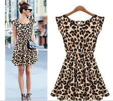 Fashion Women Sexy Leopard Casual Evening Cocktail Girls Party Mini Summer Dress