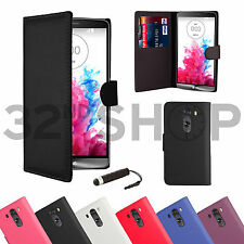 NEW FLIP BOOK WALLET PU LEATHER CASE COVER FOR LG G3 + SCREEN PROTECTOR & STYLUS