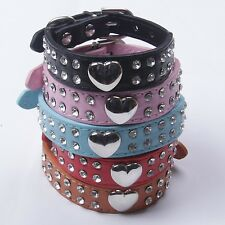 Bling Rhinestone Crystal PU Leather Collar For Puppy Dog Cat Size XXS to M. PC04