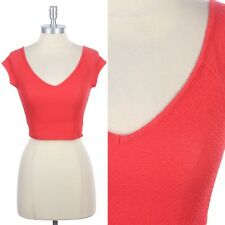 Full Textured V Neck Solid Cropped Top Sexy Cute Stylish Clubwear Coral S M L