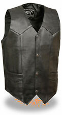 Mens Black Goat Skin Leather Classic Snap Front Biker Vest