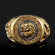 Men's 19mm Band Ring Cool Lion Eagle Star 18K GP Yellow Gold Plated Size 8-12