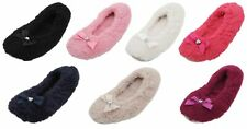 Ladies Fleece Ballerina Slippers With Bow