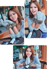 New 1 pair Hot sale Warm Mittens Knitted Full Finger With Line Winter Gloves