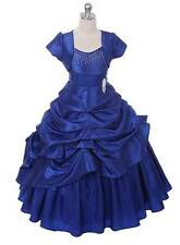 New Royal Blue Floor Length Flower Girl Princess Dress Pageant Party Wedding USA