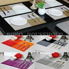 New PVC Woven Strip Grid Heat Adiabatic Table Mat Dinnerware Protector Placemat