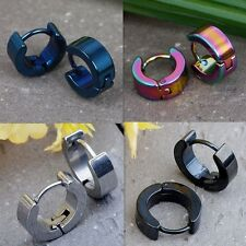 Mens Women Pair Stainless Steel Hoop Huggies Ear Stud Round Earrings Gothic Cool