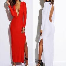 Sexy Women's Clubwear Party Cocktail Long Sleeve V-neck Split Dress HKUS