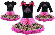 Frozen Anna Birthday Girl Crown Leopard Tutu Pettiskirt Outfit Pageant NWT 1-10Y