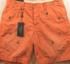 NWT Polo Ralph Lauren 30 32 & 34 Straight Fit Orange with Fishing Lures Short