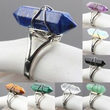 Healing Chakra Gemstone Stone Bead Silver Adjustable Finger Ring Jewelry Crafts