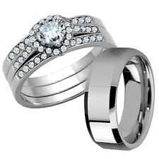Sale 3 Pcs His Tungsten Hers Stainless Steel Wedding Engagement Ring Band Set