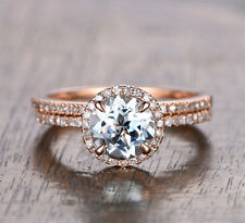 Wedding Ring Sets!Round Cut Aquamarine Diamonds Engagement Ring,14K Rose Gold