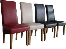 Luxury Roll Top Scroll High Back Set Of 4 Dining Chairs Faux Leather + Oak Legs