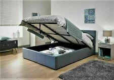 4ft6 Double Faux Leather Ottoman Gas Lift Up Storage Bed Black Brown White