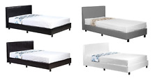 4ft6 Double Low Frame Faux Leather Bed Black Brown White + Memory Foam Mattress