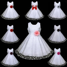 w468 UkG J9 White Baptism Bridesmaid School Wedding Flower Girls Dress 2-12y