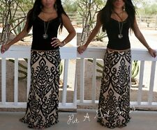 PLUS SIZE TAUPE BLACK BAROQUE FLORAL BOHO MINIMALIST LONG MAXI SKIRT 1X 2X 3X