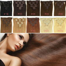 "US STOCK Straight Clip In Remy Real Human Hair Extensions 7PCS Full Head 15""-28"""