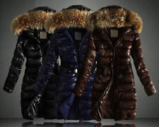 Womens fur collar Slim long Down padded coats warm quilted jackets belt hooded