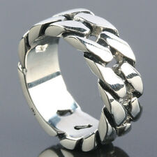 Size 8-13 Stainless Steel Chunky Thick Link Curb Chain Men's Finger Ring Jewelry